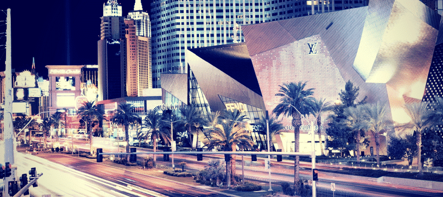 Las Vegas strip with palm trees