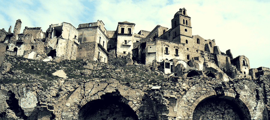 Ghost town in Craco, Italy