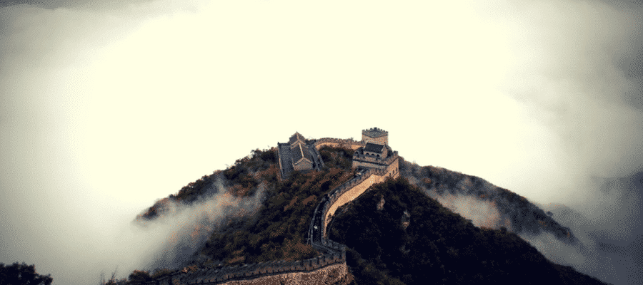 The Great Wall of China in the clouds