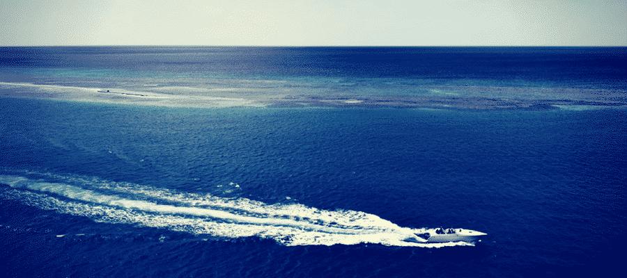 Speedboat on the ocean
