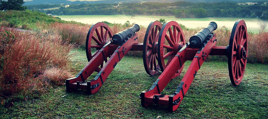 Cannons on an old battlefield