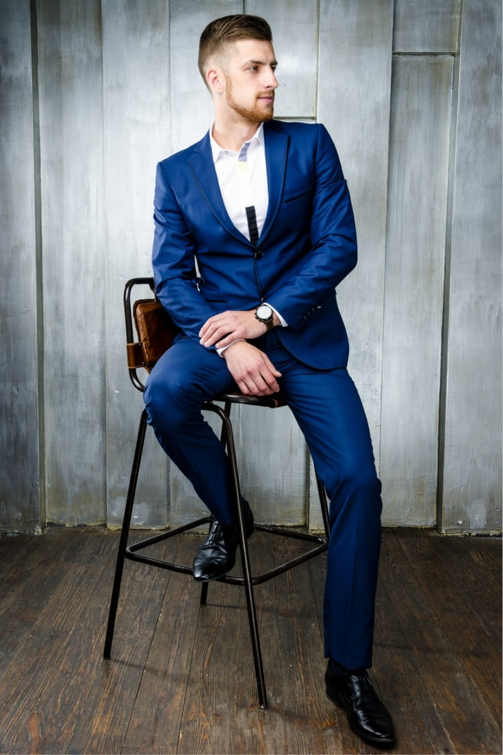 Blue Suit With Black Shoes