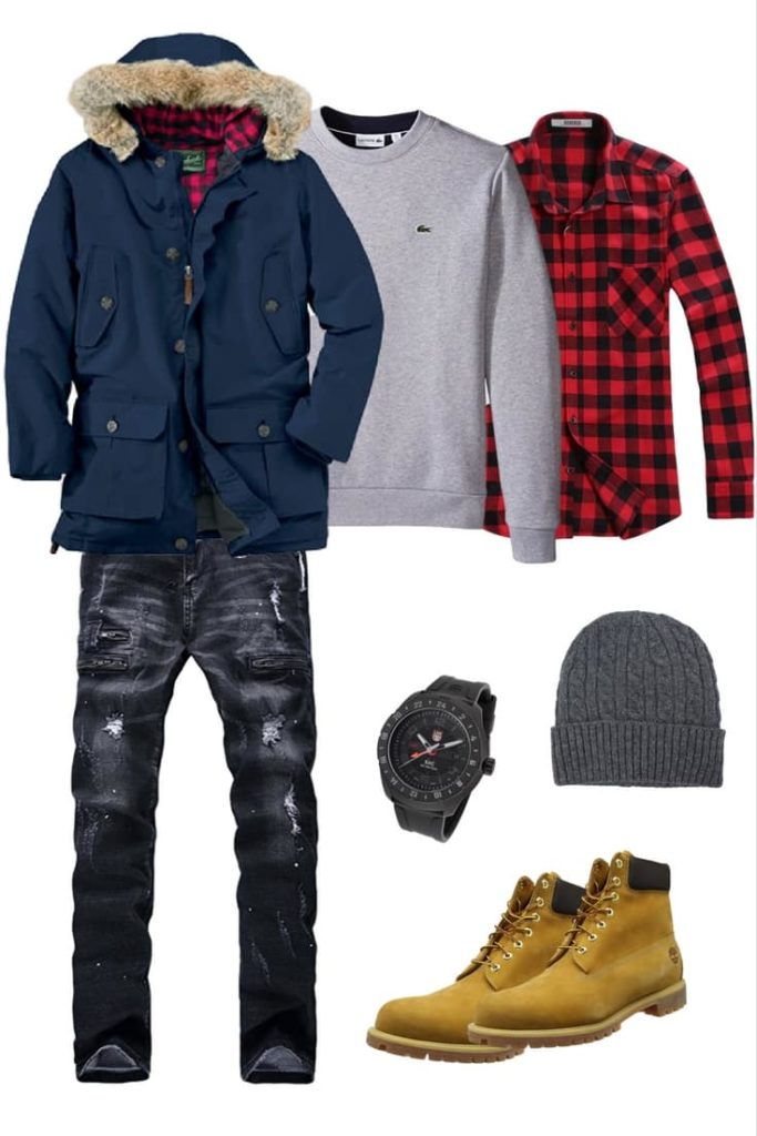 Men's winter outfit with flannel and beanie