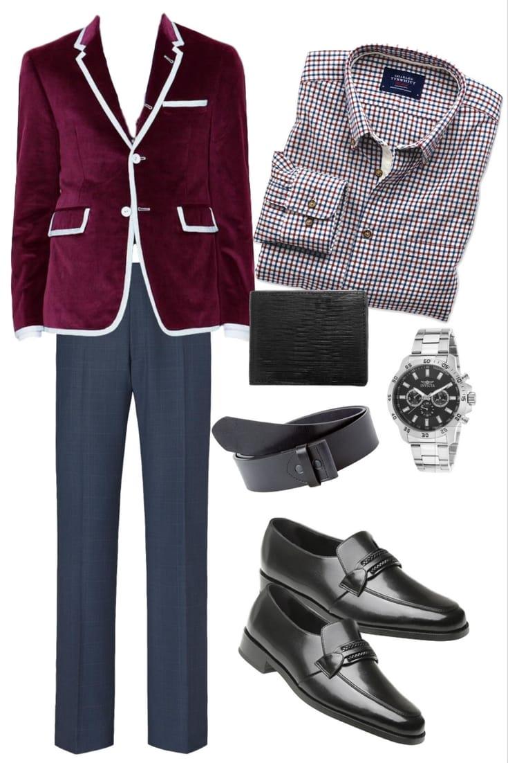 Velvet Blazer and Dress Shirt Men's Formal Outfit