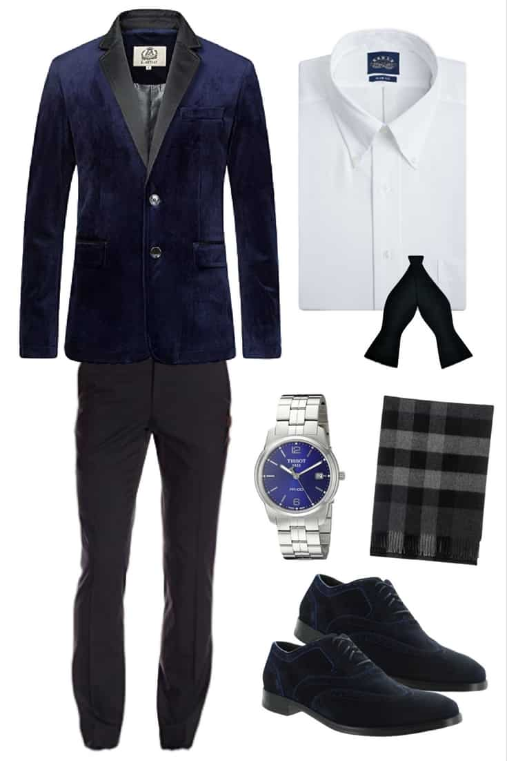 Men's Formal Holiday Outfit Featuring Velvet Blazer