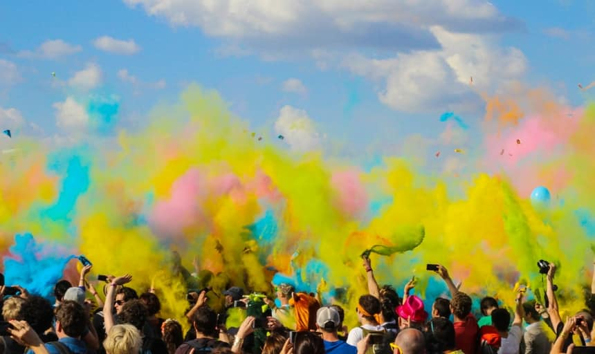 Audience - colorful at festival