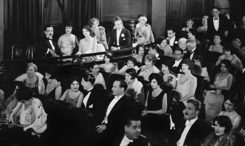 Crowd at the theatre, vintage in black and white