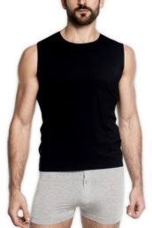 TANI Usa Bonded FreeForm Sleeveless Tank worn by model in black facing forward