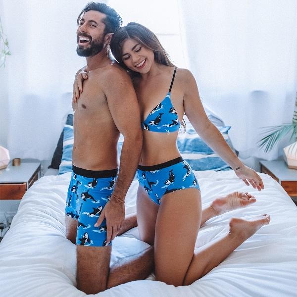 MeUndies couple in bed wearing matching underwear