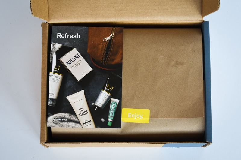 Subscription Boxes for Men Top Down Unboxing of Bespoke Post Refresh