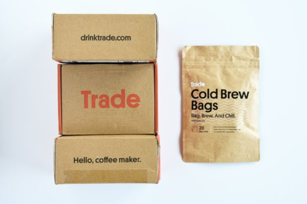 Trade Coffee Top Down of Box Packaging and Cold Brew Bags Bag