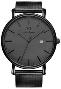 Burei Vigor Rigger Deep Gray Date with Black Milanese Mesh Band