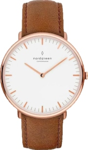 Nordgreen Native Rose Gold Brown Leather