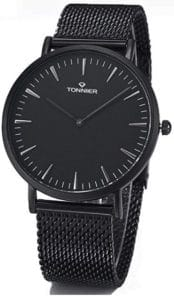 Tonnier Stainless Steel Slim Men Watch Quartz Watch Black Face