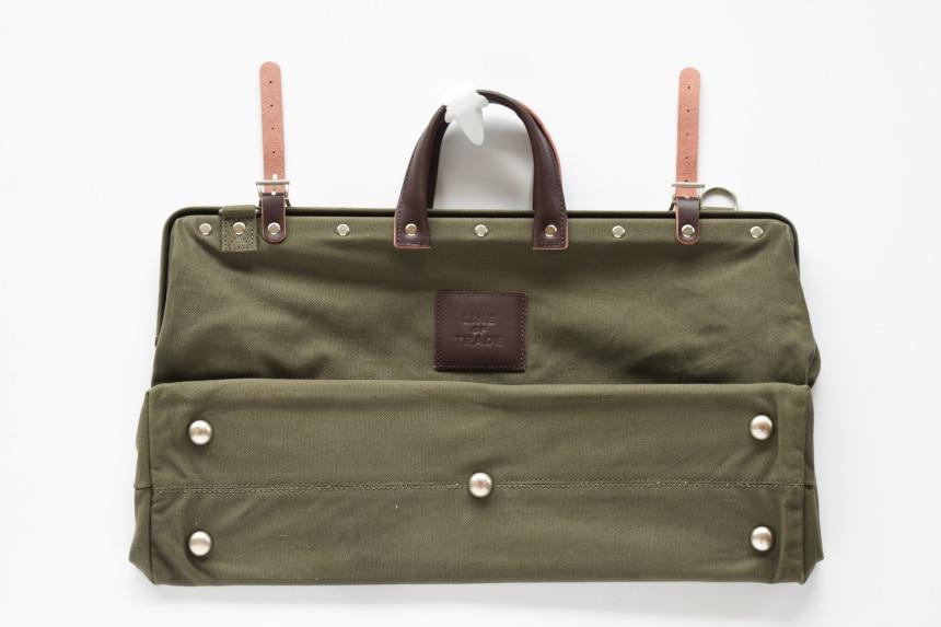 Top Down of Bespoke Post Weekender Bag in Olive Side On Folded In
