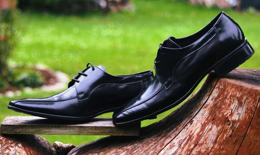 Black leather dress shoes outside on a log tilted