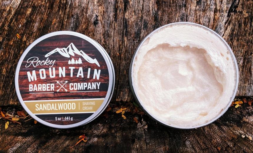 Rocky Mountain Barber Company Sandalwood Shaving Cream Tub Open