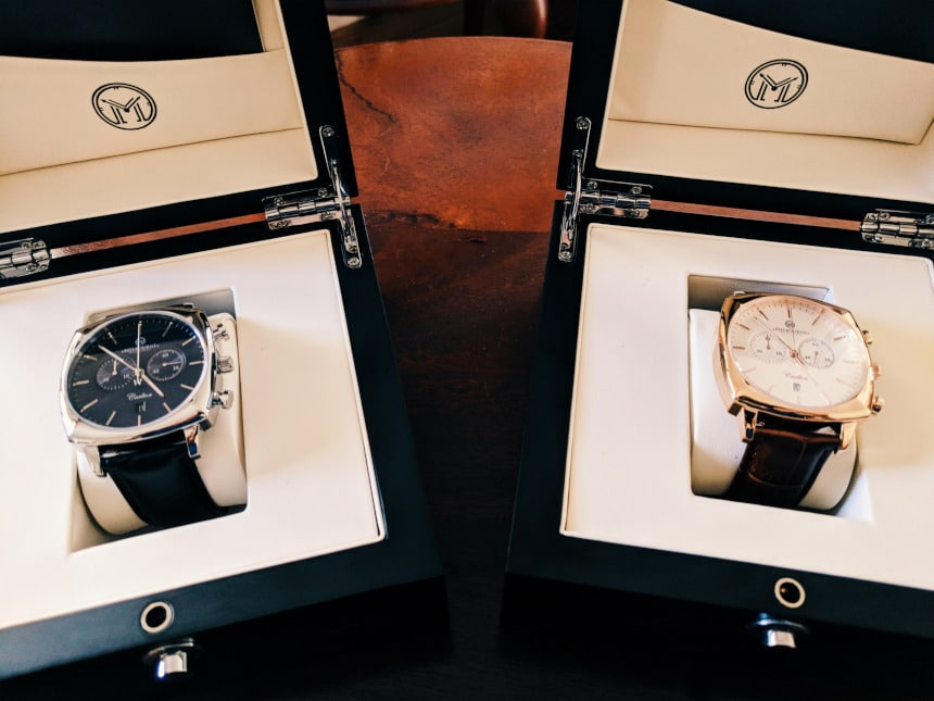 Melbourne Watch Company Carlton Classic Rose and Black next to each other in boxes
