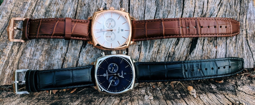 Melbourne Watch Company Carlton Classic Rose and Black on top of each other horizontal