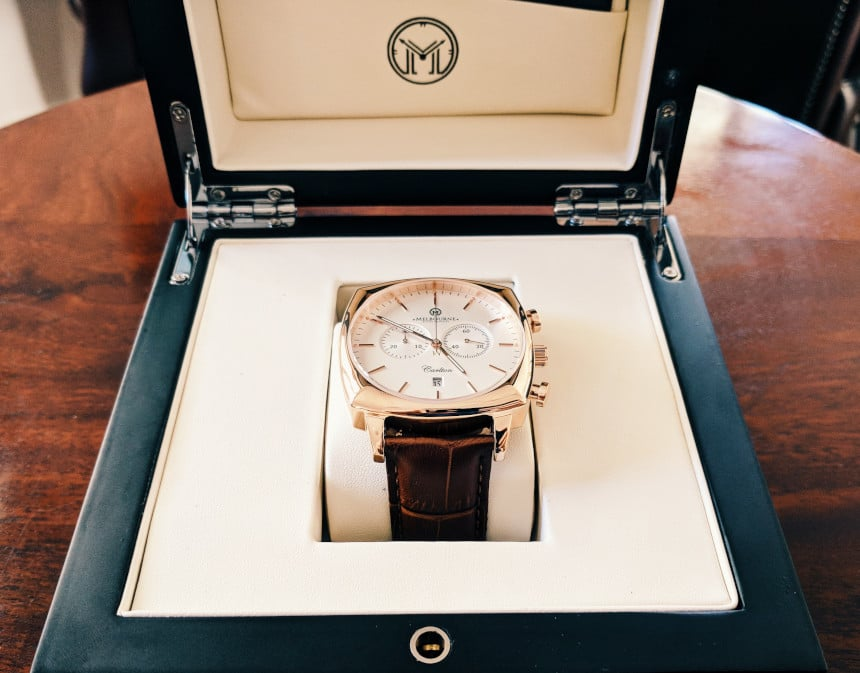 Melbourne Watch Company Carlton Classic Rose in box with box open