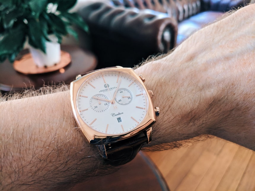 Melbourne Watch Company Carlton Classic Rose on wrist inside