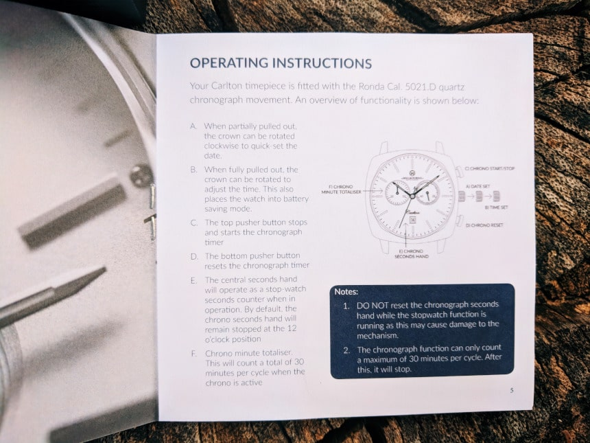 Melbourne Watch Company Chronograph Instructions