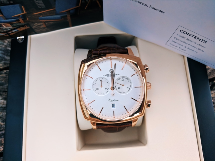 Melbourne Watch Company Classic Rose Dial Up Close in Box
