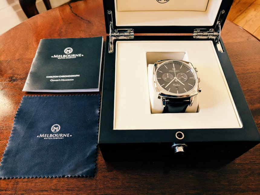 Melbourne Watch Company Unboxing with instruction booklet and cloth