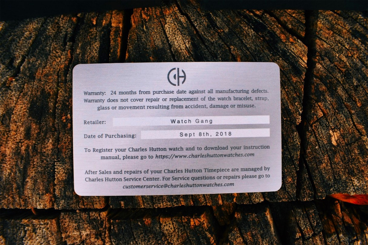 Charles Hutton Authenticity Card Warranty Info