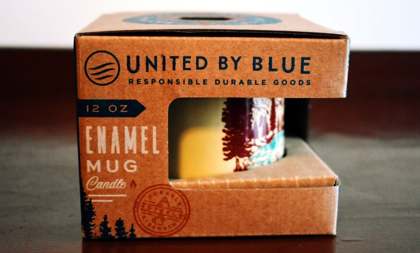 United By Blue Off Leash Enamel Mug Candle Packaging Side