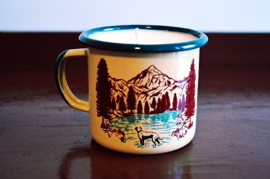 United By Blue Off Leash Enamel Mug Candle Side Dog