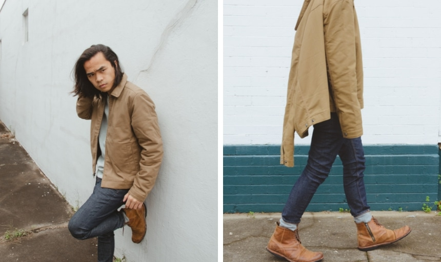 58e1083697f Grid of Model Wearing Everlane Skinny Fit Jean, 365 Fleece Crew, and Filled  Canvas