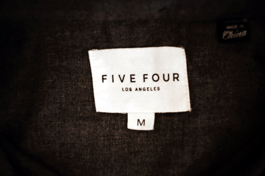 Menlo Club Five Four Grey Long Sleeve Button Down Collar Tag