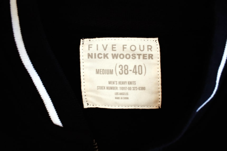 Menlo Club Nick Wooster Five Four Collection Navy and White Heavy Knit Jacket Tag