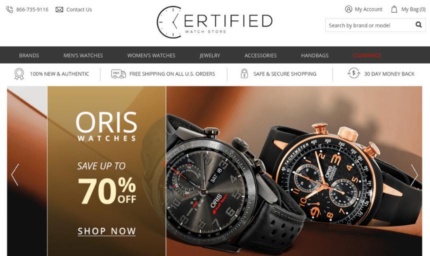 CertifiedWatchStore Site Screenshot