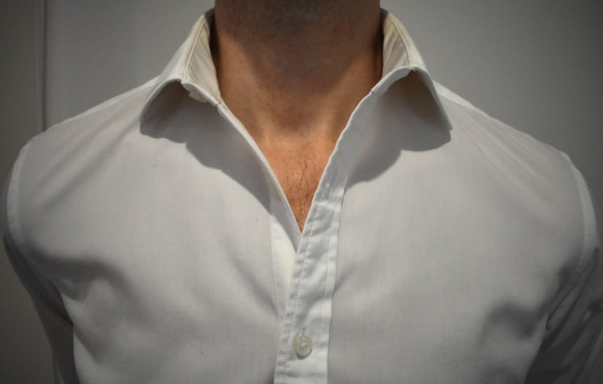 White Dress Shirt Open With Million Dollar Collar Placket Installed