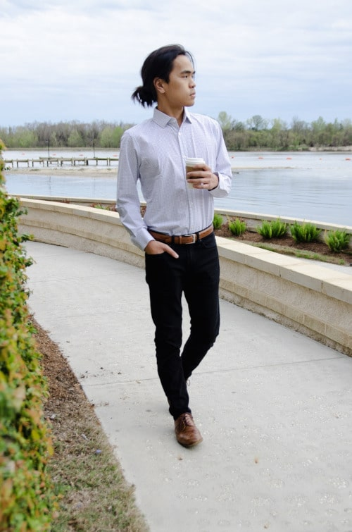 Model Wearing Mizzen+Main Kennedy Dress Shirt Standing Up and Holding Coffee