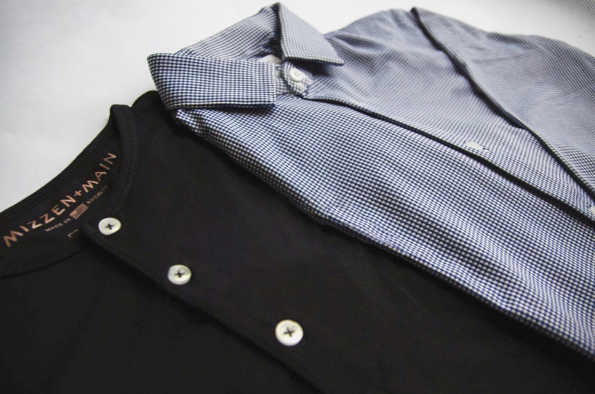 Side on shot of Mizen+Main Dress Shirt and Henley