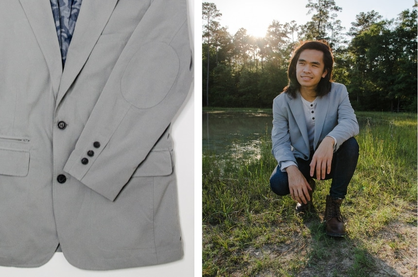 Male model Wearing TravelSmith On The Fly Lightweight Year Round Travel Blazer by Territory + Shot of Blazer Cuff