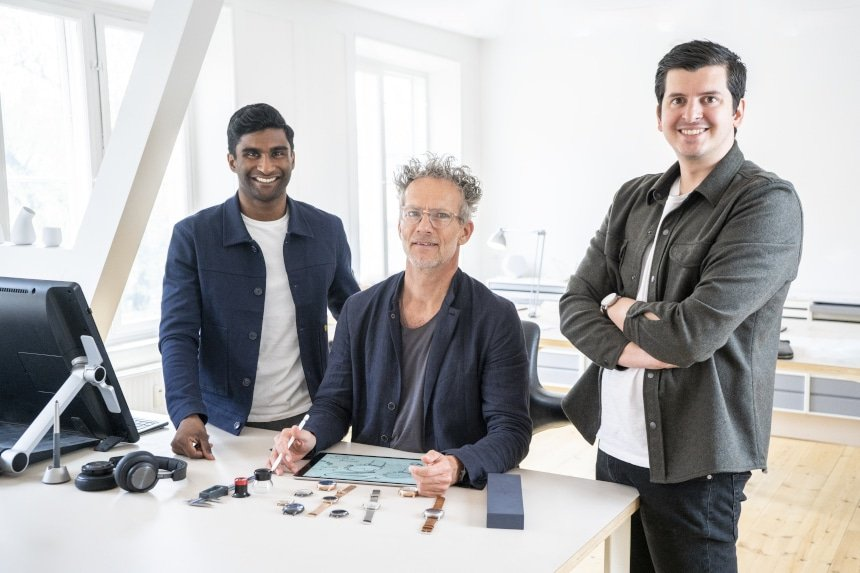 Photo of Nordgreen founders Vasilij Brandt and Pascar Sivam alongside Jakob Wagner In Design Studio