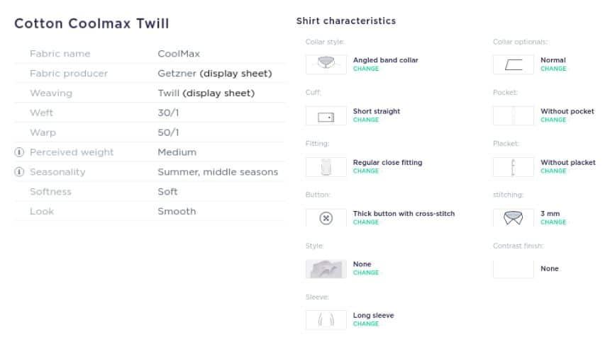 Apposta Cotton Coolmax Twill Custom Shirt Specifications