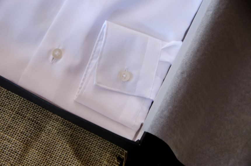 Close Up Of Apposta Coolmax Twill Cuff and Button Hole