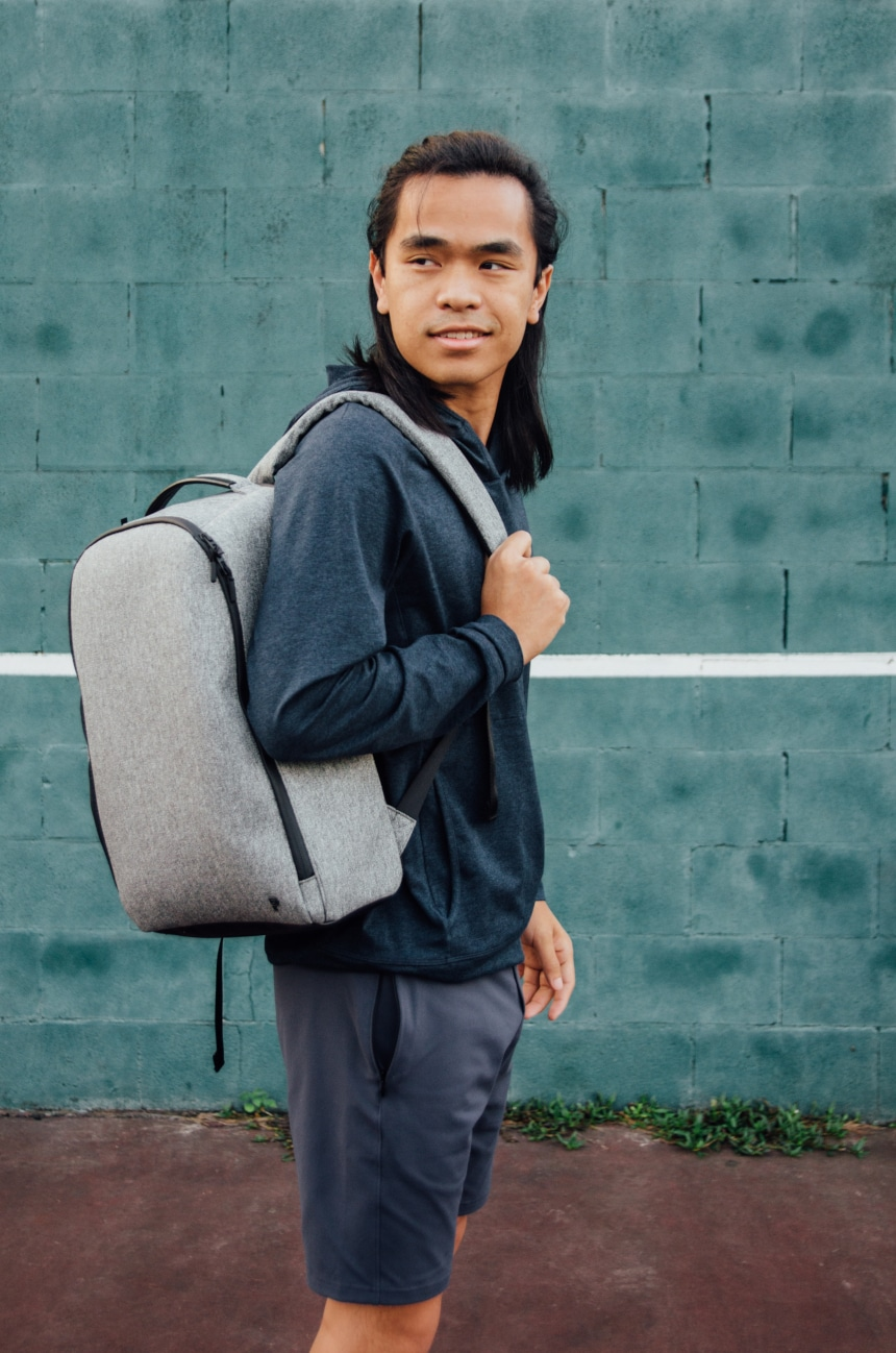 Model Carrying Public Rec Pro Pack On Shoulder Side On And Smiling