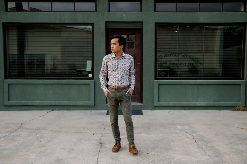 Model Wearing Apposta 100% Pure Cotton Poplin Floral And Standing On Street Landscape