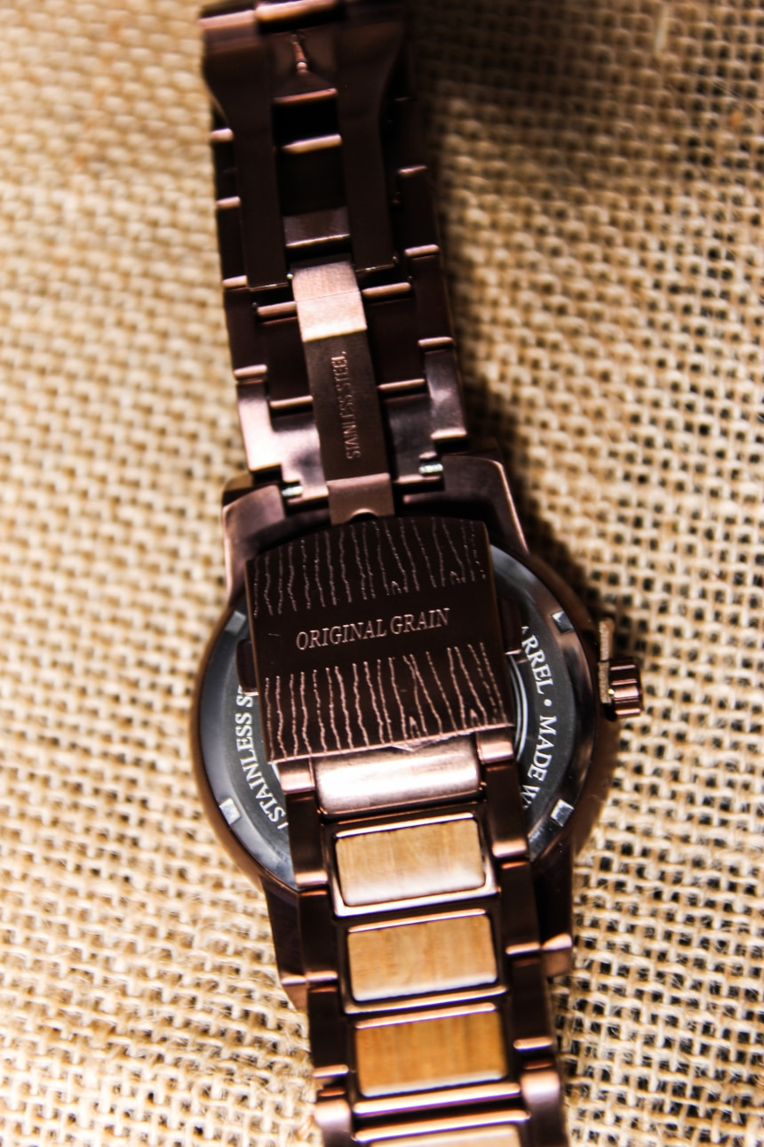 Original Grain Whiskey Barrel 47mm Close Up of Stainless Steel Strap Clasp Outside