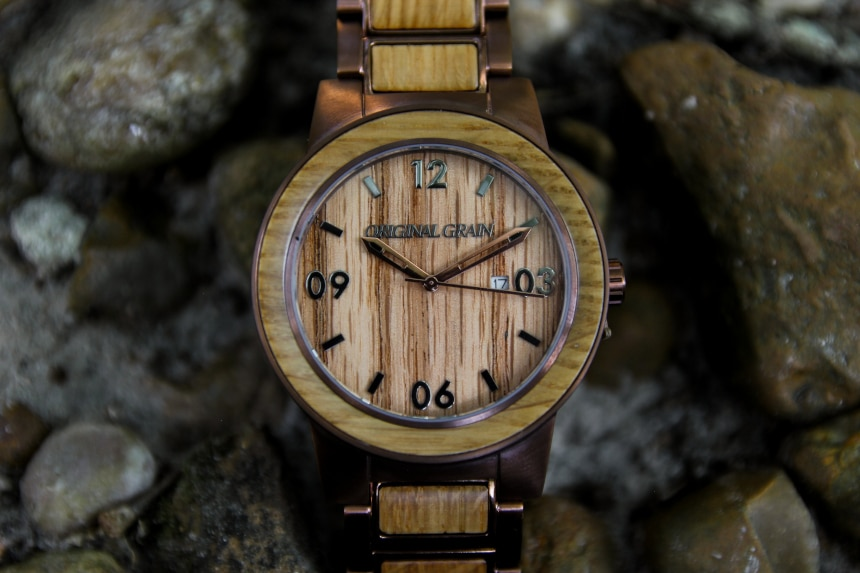 Original Grain Whiskey Barrel 47mm Folded Outside on Rocks Close Up of Dial