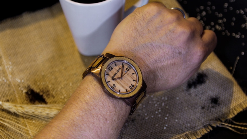 Original Grain Whiskey Barrel 47mm On Wrist With Grain And Coffee in Background