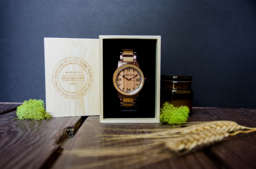 Original Grain Whiskey Barrel 47mm Sitting Inside Watch Box Standing Up With Grain and Moss on Outside