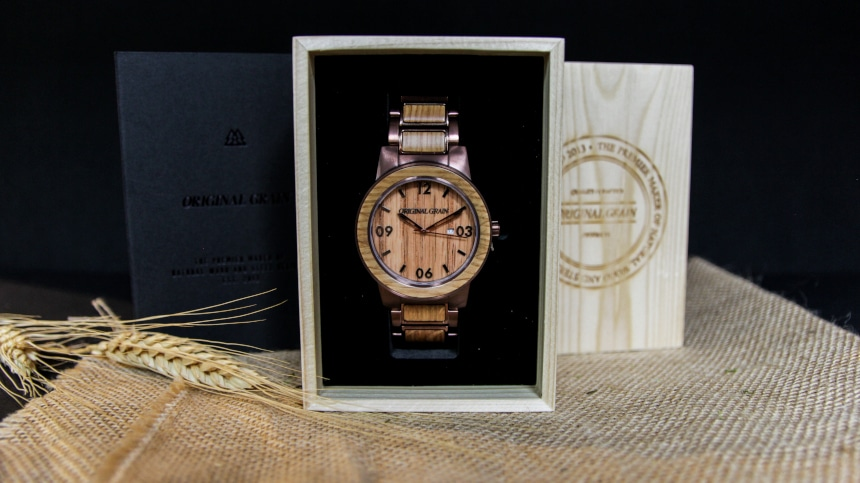 Original Grain Whiskey Barrel 47mm Sitting Inside Watch Box Standing Up With Grain on Outside