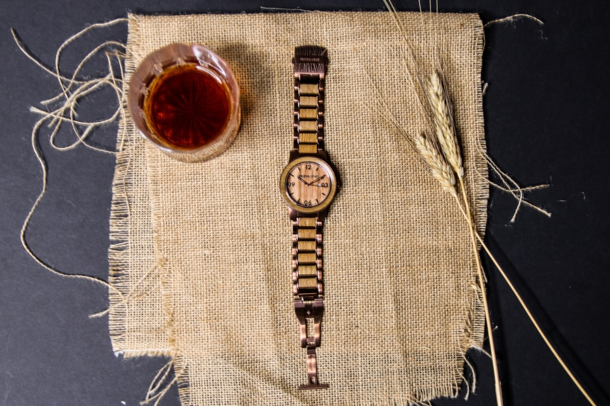 Original Grain Whiskey Barrel 47mm Watch Laid Out Face Up With Strap Unfastened